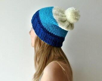 pom pom hat winter pom pom hat navy blue hat winter hats wool hat hand knit hat
