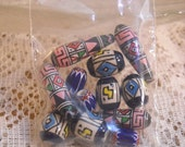 Blue Ceramic Tribal Themed Beads