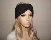 sale Charcoal grey Knit Headband Turban Headband Twisted wool blend Woman Teen Crochet Ski ear Warmer Chunky Very Soft