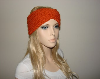 Pumpkin Knit Turban Headband, Wool Blend Knit Headband, Chunky Knitted Headband, Orange Twisted Headband Winter Woman Fashion Ski ear Warmer