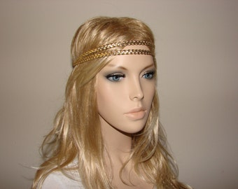 Gold Boho Double Braided headband,  Leatherette Thin Bohemian Braided Hair Band, Women's Fashion, stretchy hair band leather