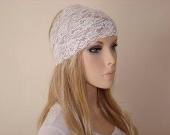 White stretchy wide lace headband, yoga headband,  flower turban headband,bandana headband, hair band Headband, flower lace headband woman