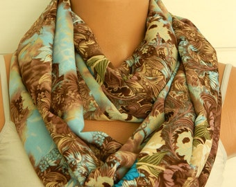 multicolor fabric scarf,Infinity Scarf,turquoise and brown scarf,Loop Scarf,Circle Scarf,.Ultra soft..Nomad Tube...hand-painted accents
