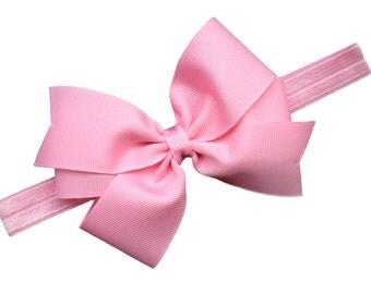 5 inch bow headband you choose color - headband with matching 5 inch bow - baby headband, newborn headband, baby bow headband, custom