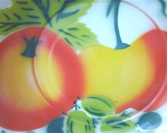 Vintage Enamel Ware Bowl with Fruit Pattern