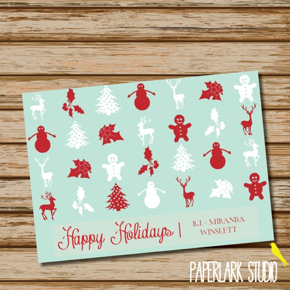 Aqua Red Christmas /// Holiday Greeting Card /// DIGITAL FILE