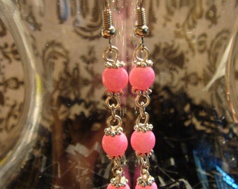 Bright Neon Hot Pink Dangling Earring