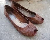 SALE Woven Brown Leather Mini Wedge Peep Toe's 9