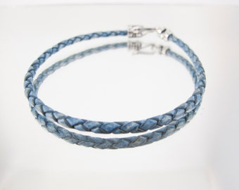Bolo Braided Leather Bracelet Vintage Iris Blue  #406