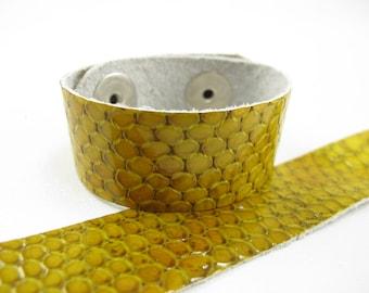 "Patent Snake Yellow Leather Kids Cuff Bracelet 3/4"" wide, #57-75851649"