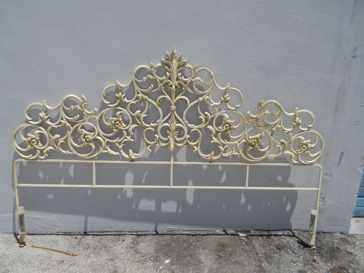 Decorative Hollywood Regency Palm Beach Iron Scroll King Size