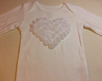 Valentine White Chiffon Rose Heart Applique on a White Long Sleeved Onesie Babies Sizes Newborn to 24 Months