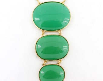 Gorgeous Gold-tone Green/Yellow Oval Stone Funky Statement Necklace