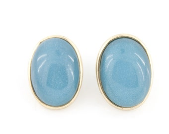 Simple Pretty Gold-tone Oval Blue/Red Post Stud EARRINGS