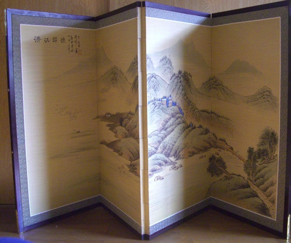 Hand Painted Folding Screen Vintage Japanese Byobu Four