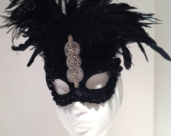 Silver and  black Feather Mask - Masked ball- Black Mask -deco mask