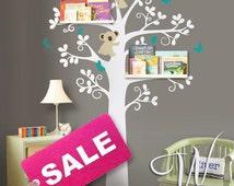 Wall Decal, Tree with Koalas and Butterflies  - Nursery Wall Decor