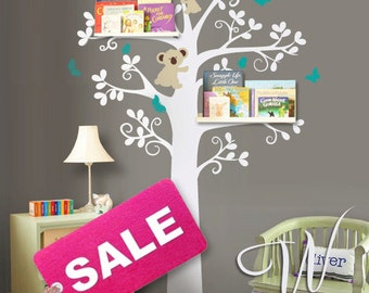 Wall Decal, Tree with Koalas and Butterflies  - Nursery Wall Decor