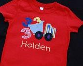 Infant, Toddler or boys birthday number dump truck t-shirt