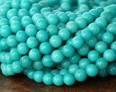 Mountain Jade Beads, Teal Blue, 4mm Round - 16 Inch Strand - eMJR-B28-4