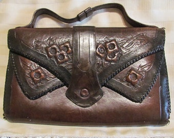 Vintage Tooled Leather Purse Tooled Leather Handbag Art Deco Purse 1920s Jemco Reedcraft Style Very Good to Excellent Condition