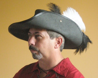 New Medieval Celtic Renaissance SCA Larp Leather Musketeer Hat