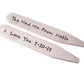 Personalized Wedding or Anniversary Collar Stay- Set of 2 - Gift for Dad - Stainless Steel - Hand Stamped - Your Custom Text - Gift For Him