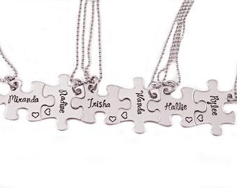 Bridesmaid Gift Puzzle Piece Necklace Set - Engraved Puzzle Piece Necklaces - Wedding - Bridal Party - Bridesmaid Gift - Wedding Maid - 1255
