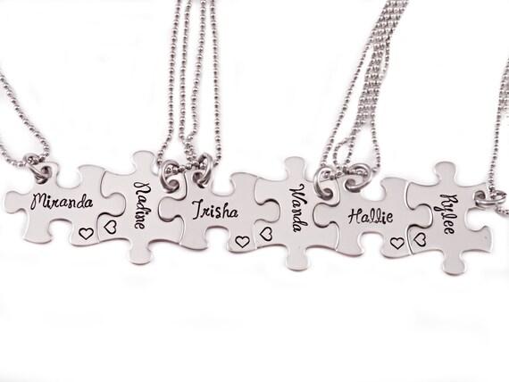 bridesmaid gift puzzle necklace set engraved puzzle