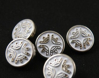 6 pcs 0.51 inch Silver White Crown Plastic Shank Buttons for Shirts