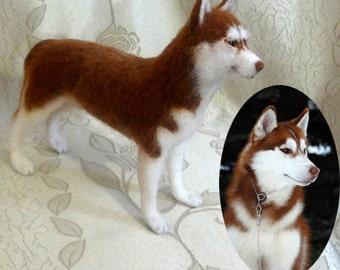 Custom Needle Felt Portrait Sculpture Siberian Husky Dog Breed 8-9 inches
