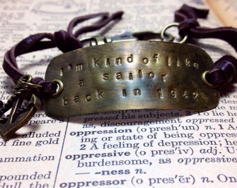 I'm Kind of Like a Sailor Those Lungs Alkaline Trio Inspired Leather Bracelet