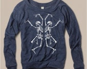 Womens Halloween Dancing SKELETON Screen Print Top Long Sleeve Pullover Sweater Raglan Slouchy Alternative Apparel S M L XL more Colors