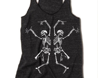 Womens Halloween Dancing SKELETON Tri Blend Tank Top American Apparel Made in USA Small Medium Large XLarge Racerback