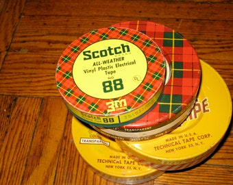 Vintage Tin Set of Four Mid-Century 3M Scotch Tape Electrical Tape Tuck-Tape Transparent Cellophane Office Tape