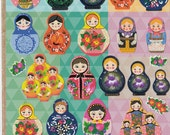Korean Scrapbook Gold Foil Stickers - Matryoshka Dolls (STNO05029)