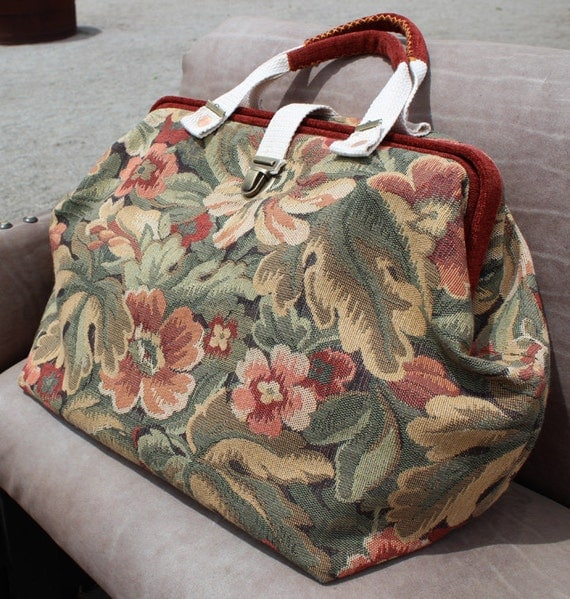 Floral Carpet Bag Or Mary Poppins Bag In Dusty Red Sage