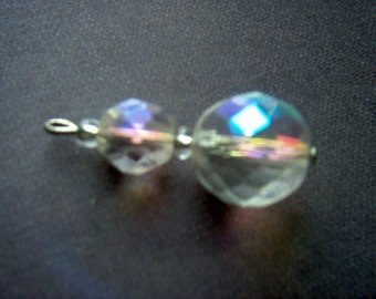 Vintage AB Crystal Glass Bead Dangles x 6    # R 4