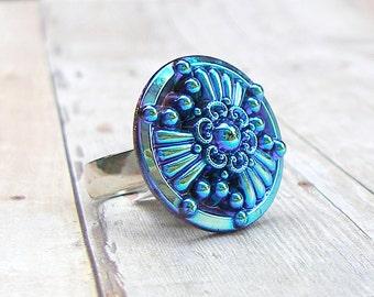Vintage Blues - adjustable Vintage glass button ring