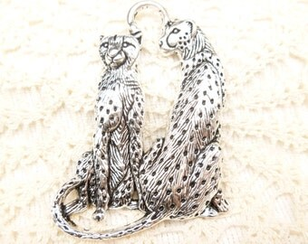 Graceful, Antiqued Silver Cheetah Pair Pendant (1)
