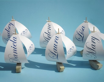 12 rustic sailboat table number holder or place card