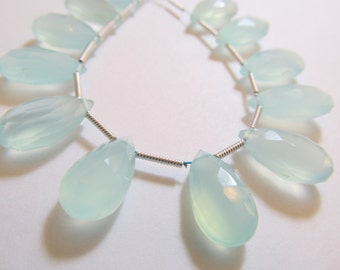 Matched Pair Seafoam Chalcedony Faceted Pear Briolettes, Approx 15x8mm, Teardrops