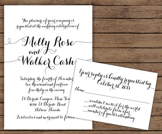 Items Similar To Modern Calligraphy Wedding Invitation