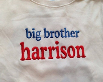 big brother Custom saying embroidered t-shirt or one piece w/snaps, boys, girls