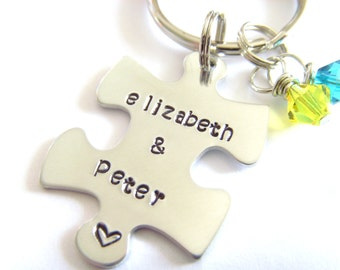 Handstamped Jewelry, Puzzle Piece, Names, Hand Stamped, Couples Jewelry, Family Jewelry