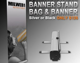 """31.5"""" x 78.5"""" Retractable Banner Stand, Bag and Banner - Free Shipping"""
