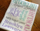 DOUBLE SIDED-Personalized baby blanket, Receiving Blanket, Birth Announcement, Full Name, Monogrammed blanket, DOUBLE sided, Printed