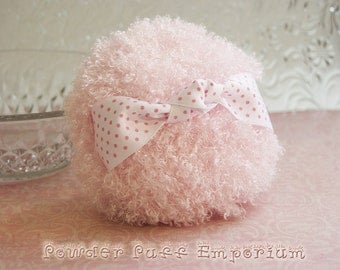 BIG and Fluffy Powder Puff  PINK (Pink Dots on White)