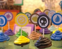 Skylanders Birthday Party Cupcake Toppers Picks