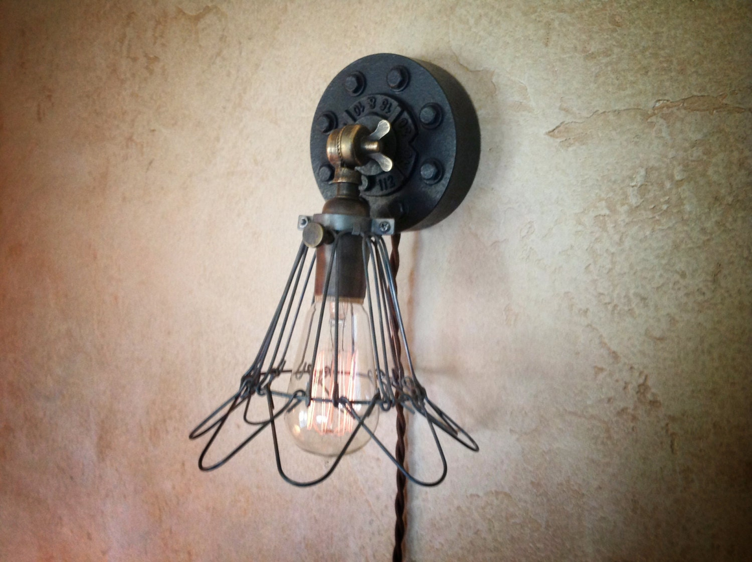 Vintage Plug In Wall Sconces : Plug in Industrial Cage Wall Sconce. Retro by IroncladIndustrial